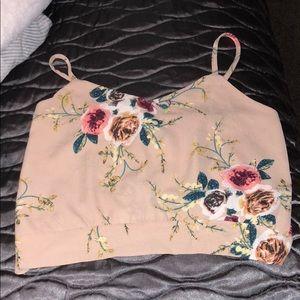 floral open back crop top